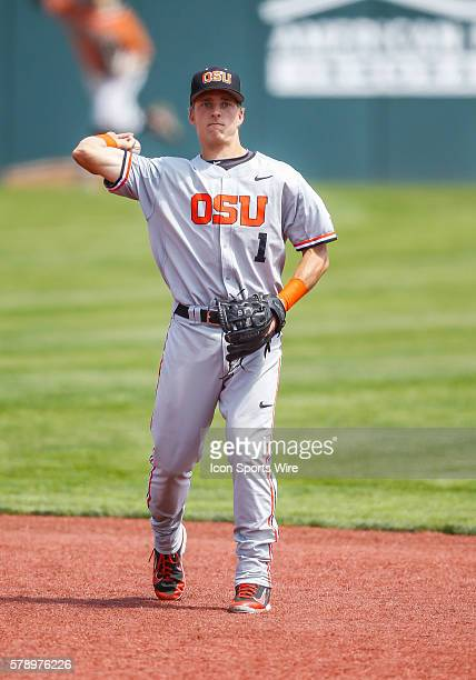 Oregon State infielder Andy Peterson during the NCAA Div 1 Championship Corvallis Regional baseball game between Oregon St vs UNLV in Goss Stadium at...