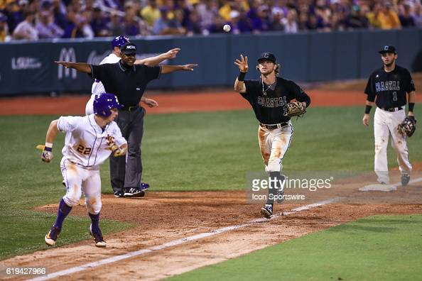 June 11 2016 LSU infielder Cole Freeman is caught in a rundown during the NCAA DIV I Championship Baton Rouge Super Regional game between Coastal...