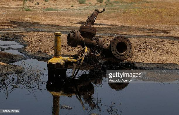 June 11 dated picture shows the the view of petroleum pipelines in Kone district southern Kirkuk that the burglaries steal the crude oil during the...
