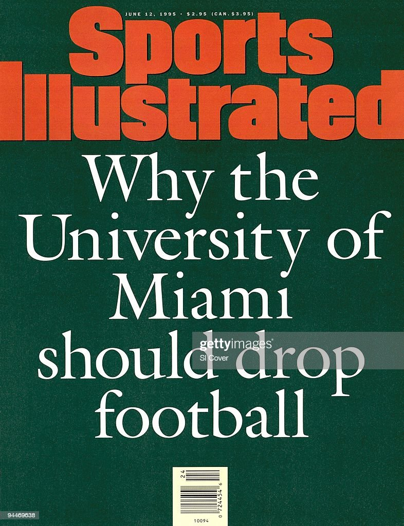 June 12, 1995 Sports Illustrated Cover. College Football: Pell Grant Scandal: Illustration of type-written text: WHY THE UNIVERSITY OF MIAMI SHOULD DROP FOOTBALL; by Art Department. New York, NY 1/1/1995--6/12/1995