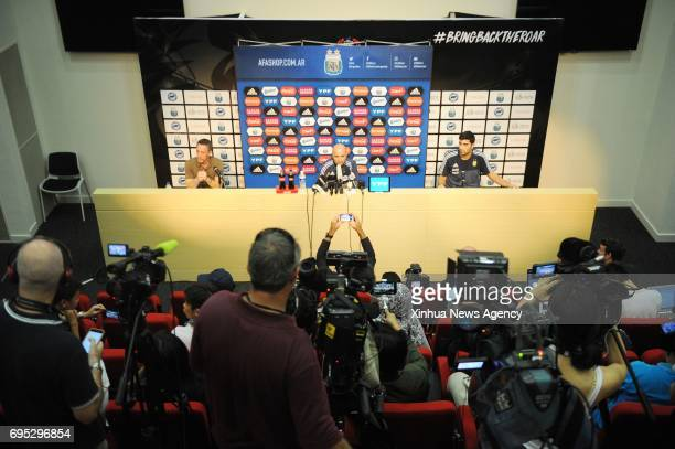 SINGAPORE June 12 2017 Argentina's coach Jorge Sampaoli attends the prematch press conference held in Singapore's National Stadium on June 12 2017...