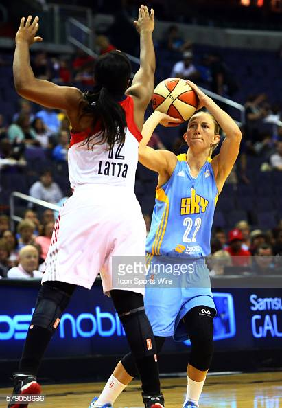 Courtney Vandersloot of the Chicago Sky shoots over Ivory Latta of the Washington Mystics during a WNBA game at Verizon Center in Washington DC