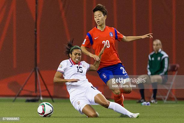 Costa Rica midfielder Cristin Granados and Korea defender Kim Hyeri fight for the ball during the 2015 FIFA Women's World Cup Group E match between...