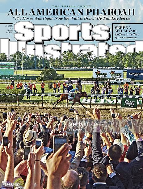Horse Racing Belmont Stakes Overall view of fans victorious watching Victor Espinoza in action aboard American Pharoah cross finish line with their...