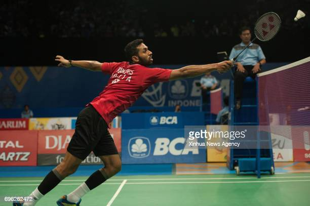 Prannoy HS of India competes during Men's Singles match against Lee Chong Wei of Malaysia in Indonesia Open 2017 at Jakarta Convention Center Jakarta...