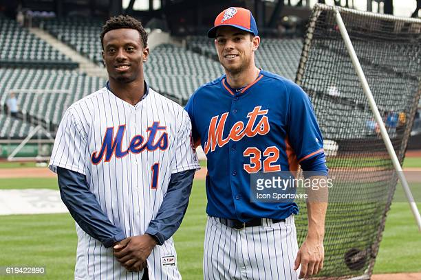 NY Giants first round draft pick Eli Apple poses with New York Mets starting pitcher Steven Matz prior to a regular season game between the...