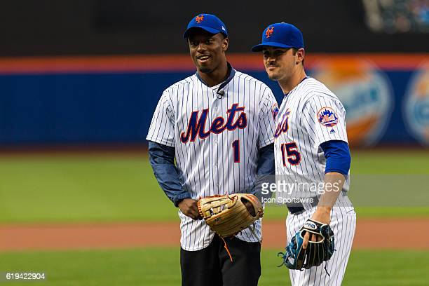 NY Giants first round draft pick Eli Apple poses with New York Mets shortstop Matt Reynolds prior to a regular season game between the Pittsburgh...
