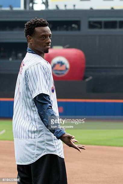 NY Giants first round draft pick Eli Apple visits Citi Field for a regular season game between the Pittsburgh Pirates and the New York Mets at Citi...