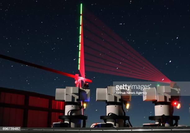 HEFEI June 16 2017 Composite photo taken on Dec 10 2016 shows a quantum communication ground station in southwest China's Tibet Autonomous Region...