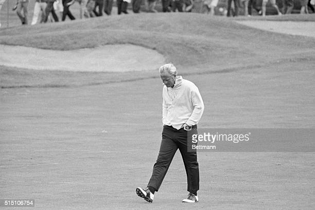 June 18 1970Chaska Minnesota In an obviously grim mood Jack Nicklaus walks by himself to the Tenth tee after finishing the first nine holes seven...