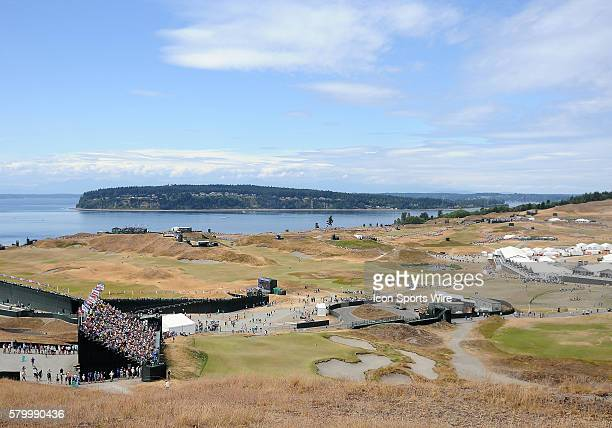 June 18 2015 A general view of Chambers Bay and Puget Sound during first round play at the 115th US Open at Chambers Bay University Place WA