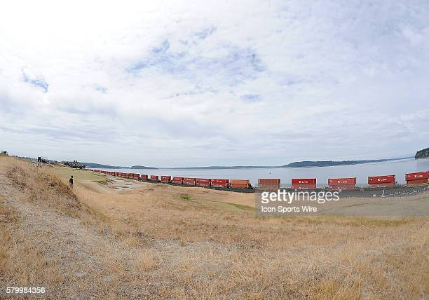 June 18 2015 A train passes by Chambers Bay with Puget Sound in the background during first round play at the 115th US Open at Chambers Bay...