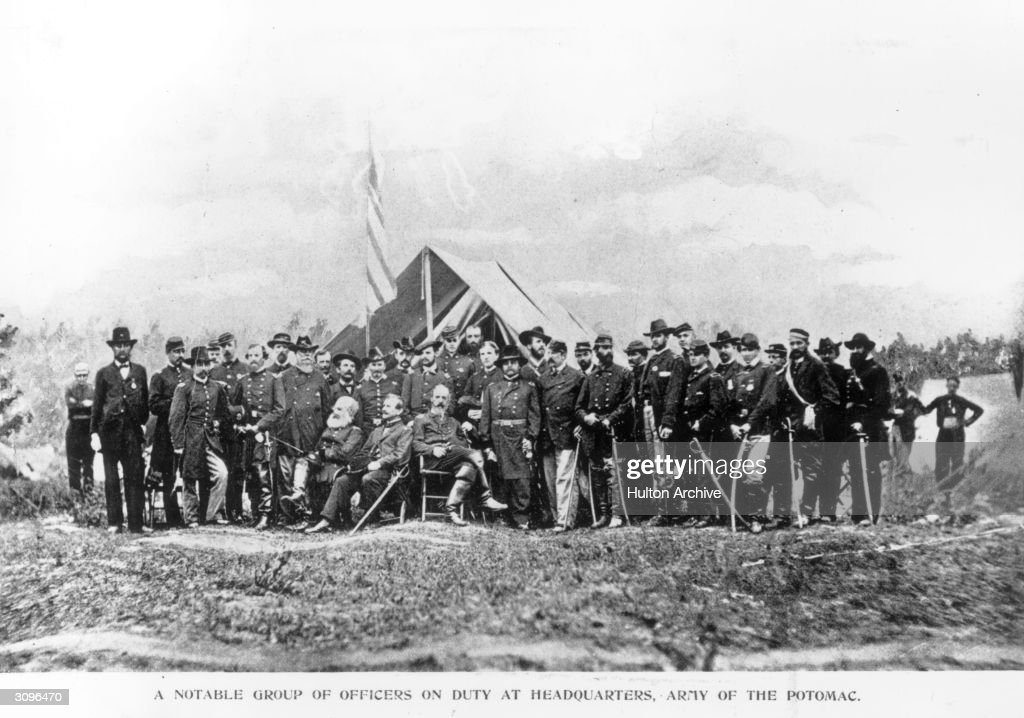 A group of Union officers of the Army of the Potomac at Headquarters at Cold Harbor, Virginia, the scene of one of the bloodiest battles of the civil war.