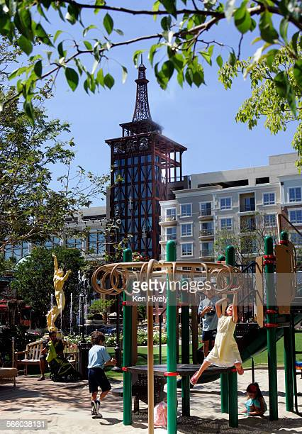 GLENDALE CALIFORNIA June 19 2008 Playground and Eiffel Tower in background featured inside the Americana At Brand complex Story about what its like...