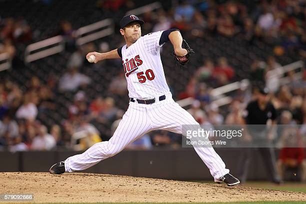 June 19 2014 Minnesota Twins pitcher Casey Fien pitching during the eighth inning at the Minnesota Twins game versus Chicago White Sox at Target...