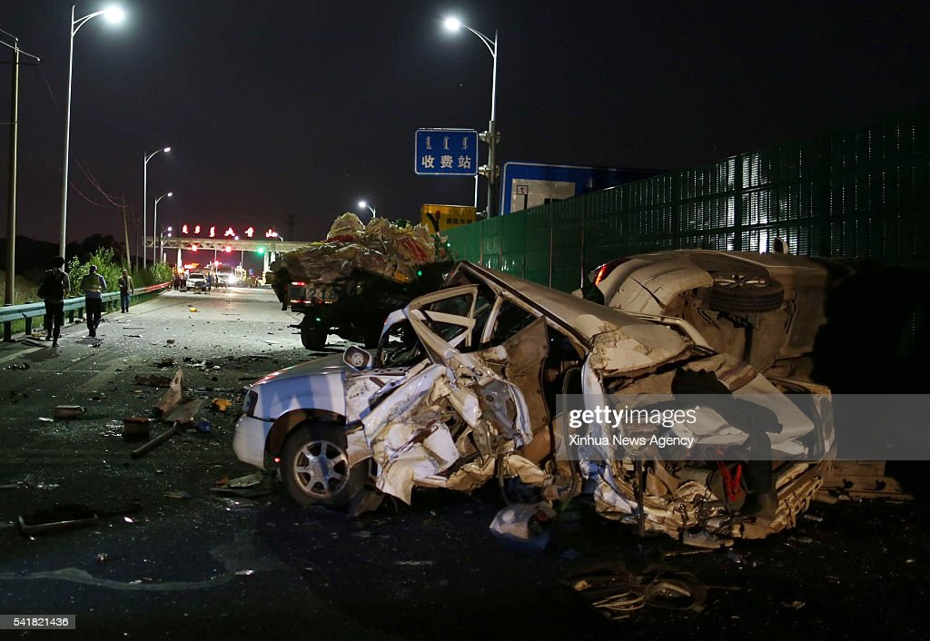 HOHHOT June 19 2016 Photo taken on June 19 2016 shows the accident site at a toll station between Wuchuan County and Hohhot in north China's Inner...