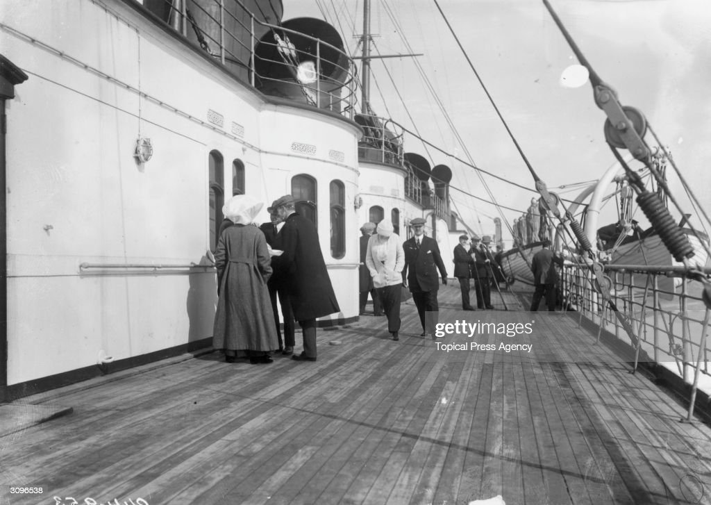 Passengers on the promenade deck of the RMS Lusitania.
