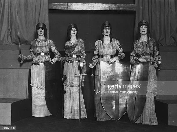 Miss Felicity Tree Miss Nancy Cunard Lady Violet Chateris and Lady Diana Manners in the musical tableau ' La Damoiselle Elue' at the French Embassy...