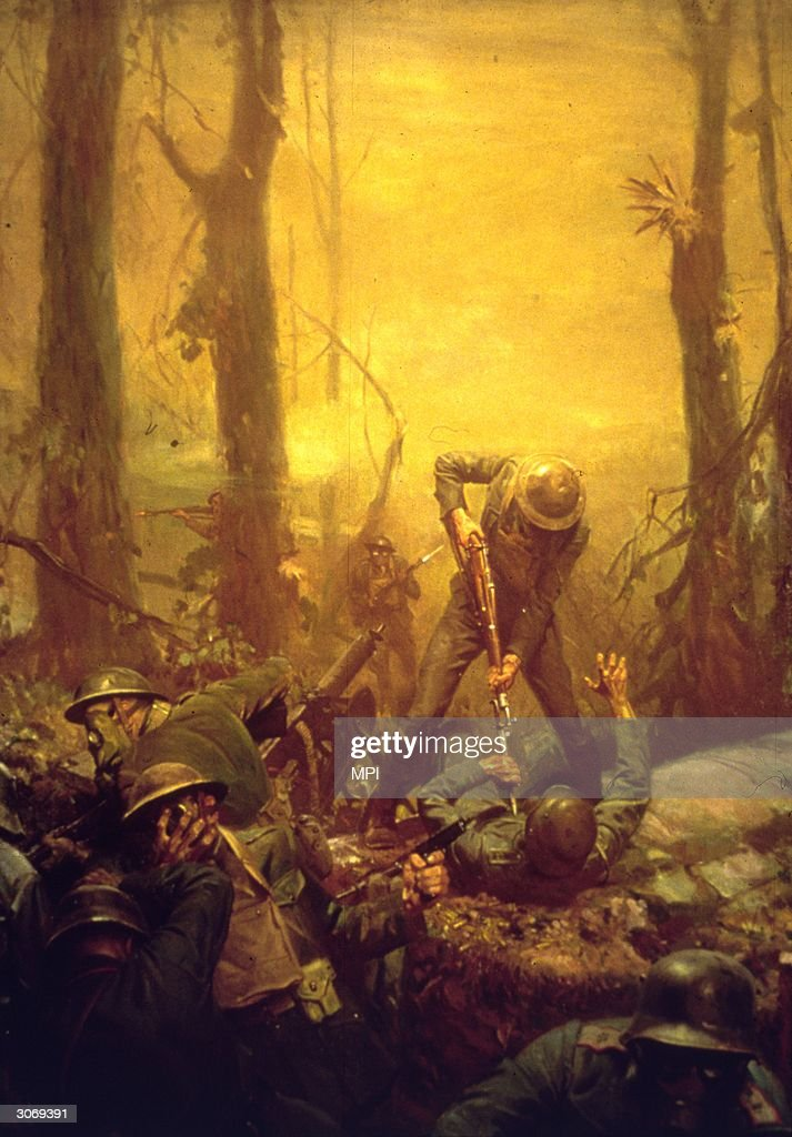 American soldiers in the Battle of Belleau Wood during World War I. Original Artwork: Painting by Tom Lovell (1909 - 1997).