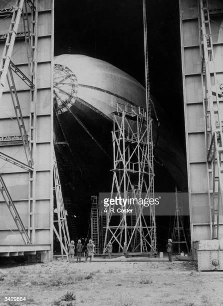 The airship R38 in a hangar at Bedford