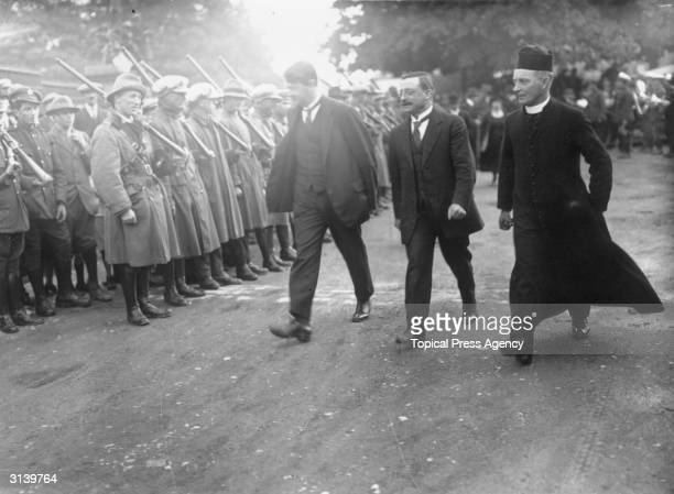 Irish soldier politician and Sinn Fein leader Michael Collins arrives at the wedding of Commander Sean McKeown and Miss A Cooney A Free State guard...