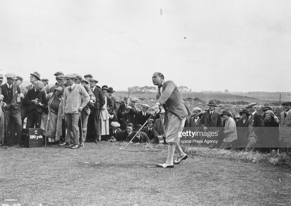 US golfer Walter Hagen playing from the 10th tee during the British Open Golf Championship at Troon Hagen became interested in golf while working as...