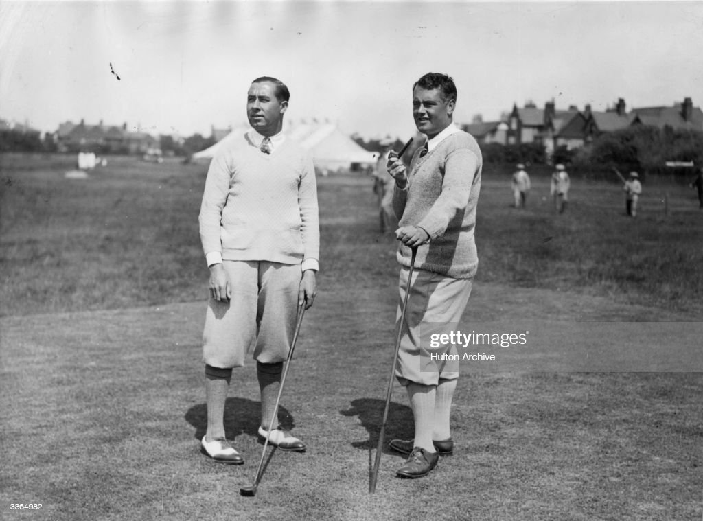 Golfers Walter Hagen and Cyril Tolley practising for the Open Golf Championship
