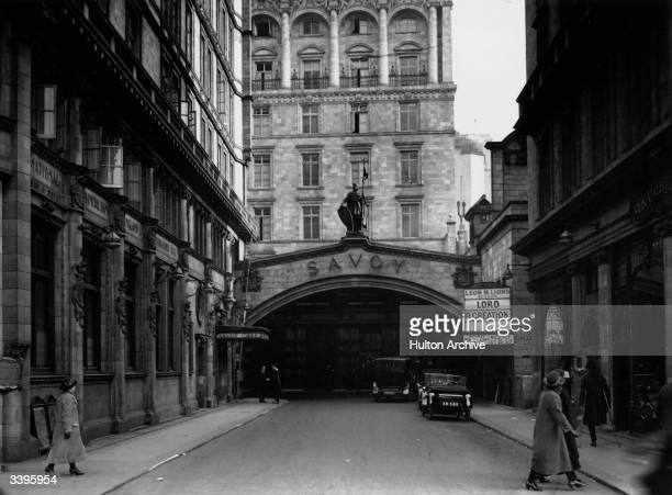 The entrance to London's Savoy Hotel