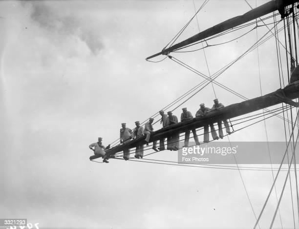 US Coastguard cadets in the rigging aboard the 'Alexander Hamilton'