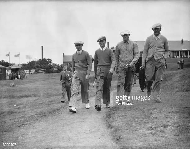 From left to right Densmore Shute Byron Nelson Horton Smith and Edward Dudley members of the American golf team at the 1937 Ryder Cup
