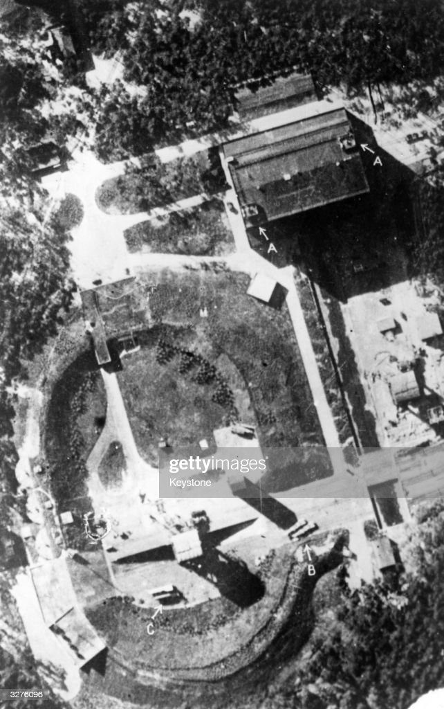 RAF reconnaisance view of the German research station at Peenemunde where V-2 rocket tests take place. Key to annotations: A Light Flack, B Rocket transport cradles, C Two rockets. The base was bombed heavily in 1943.