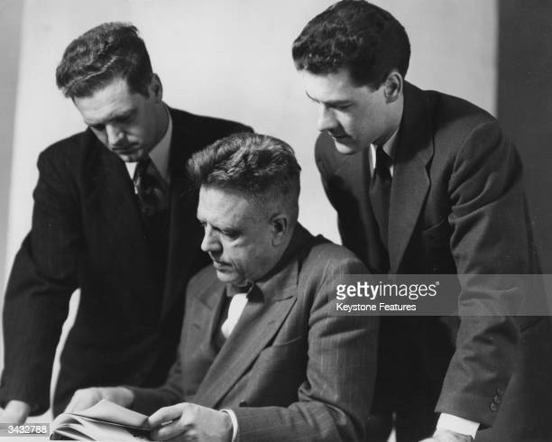 American academic and author of the 'Sexual Behaviour of the American Male' Dr Alfred Kinsey with two of his research assistants Wardell Pomeroy and...