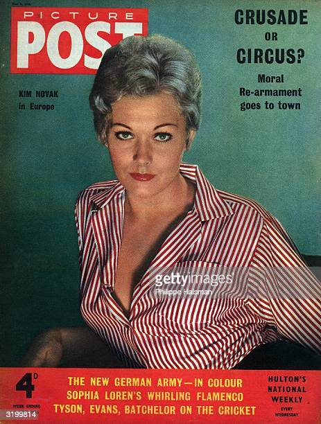 Wearing a red and white striped blouse actress Kim Novak graces the cover of Picture Post magazine The headline above reads 'Crusade or Circus Moral...