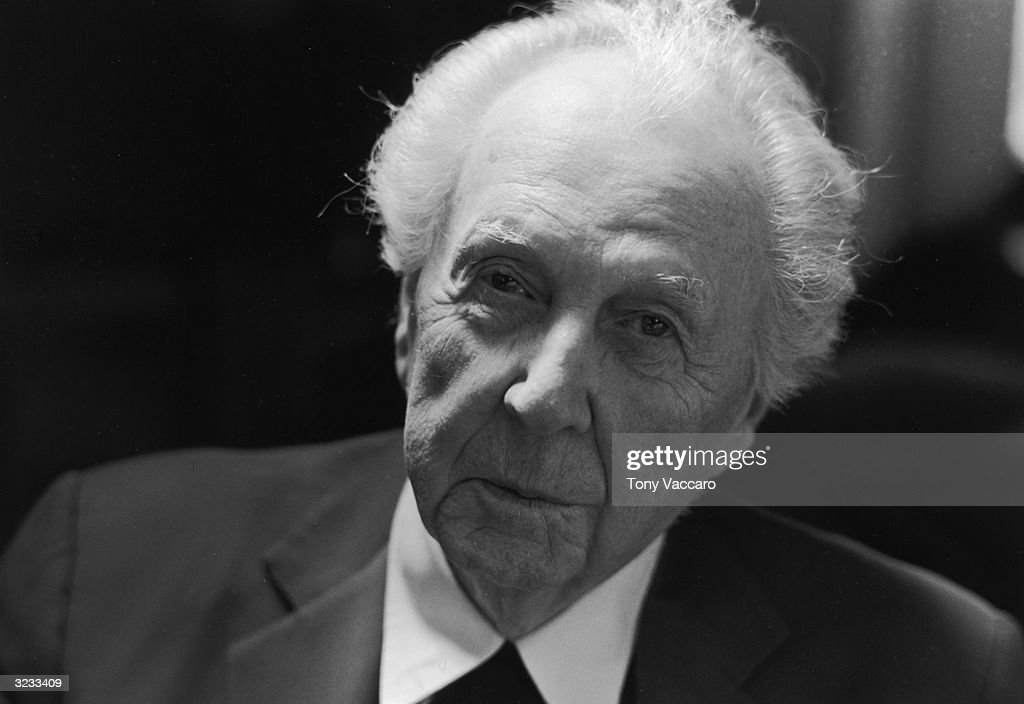 Closeup of American architect <a gi-track='captionPersonalityLinkClicked' href=/galleries/search?phrase=Frank+Lloyd+Wright&family=editorial&specificpeople=90880 ng-click='$event.stopPropagation()'>Frank Lloyd Wright</a> (1869-1959) in his studio at Taliesin, Wisconsin.