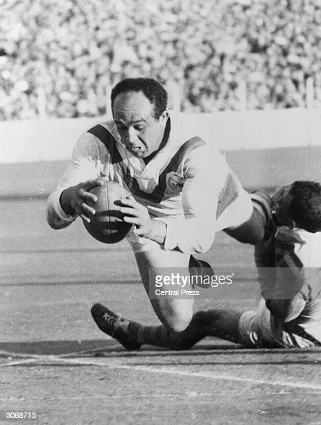 Welsh rugby league player Billy Boston in 1954 he became the first coloured player to represent Great Britain and went onto score 477 tries for Wigan...