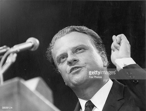 American evangelist Dr Billy Graham addressing the congregation at Earl's Court London at the beginning of his 32day Greater London Crusader