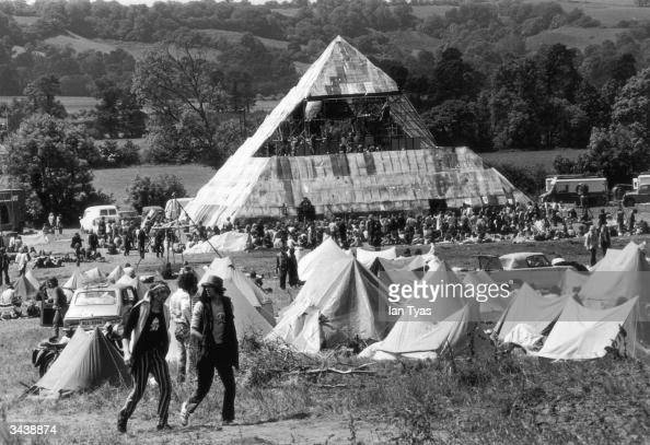 Hippies at the second Glastonbury Festival which saw the first use of a pyramid stage