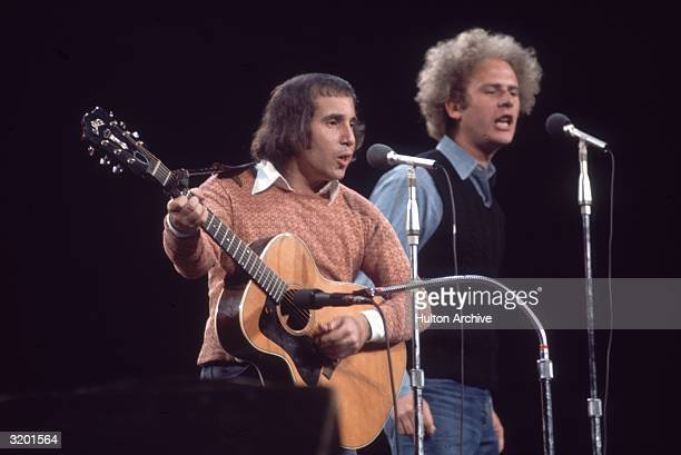 American singers and musicians Paul Simon and Art Garfunkel performing at 'Together with McGovern' a fundraising concert for the presidential...