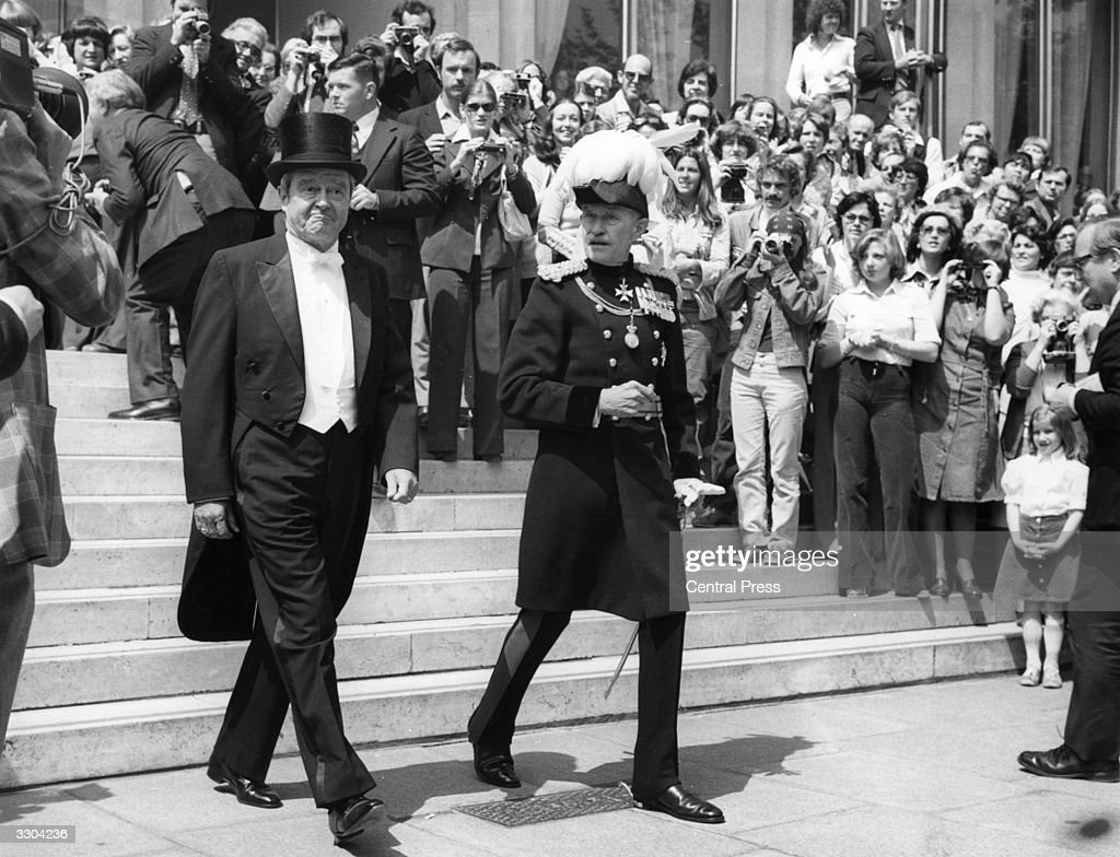 Escorted by the Marshal of the Diplomatic Corps MajorGeneral Sir Michael FitzalanHoward the new American ambassador in London Mr Kingman Brewster...