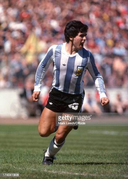 02 June 1979 International football Scotland v Argentina Diego Maradona celebrates after assisting with an Argentinian goal scored by Luque