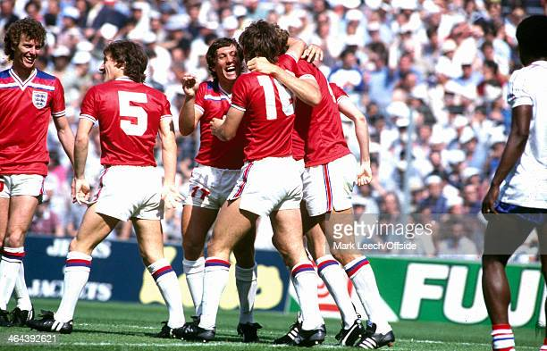 16 June 1982 Fifa World Cup England v France Graham Rix Steve Coppell and Kenny Sansom celebrate England teammate Bryan Robsons early goal