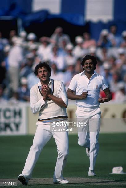 Cricket World Cup Roger Binny of India takes a catch with Kirti Azad backing up during India's victory over Australia at Chelmsford