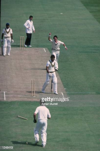 Richard Hadlee bowls Zaheer Abbas during the match between New Zealand and Pakistan in the Cricket World Cup at Edgbaston Birmingham