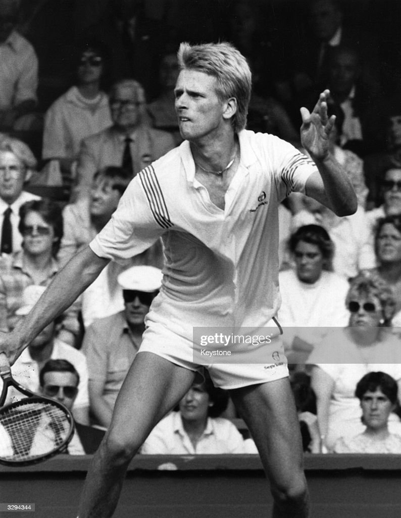 British tennis player Andrew Castle in action during the Wimbledon Tennis championships