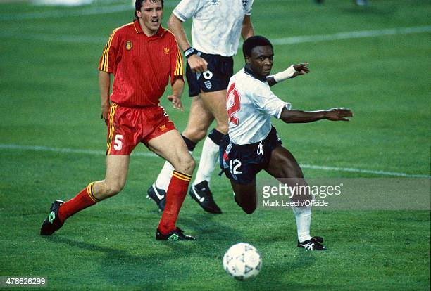 26 June 1990 Fifa World Cup England v Belgium Paul Parker of England races past Bruno Versavel of Belgium