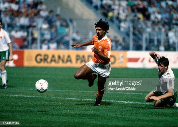21 June 1990 FIFA World Cup Netherlands v Republic of Ireland Niall Quinn falls as he pursues Frank Rijkaard