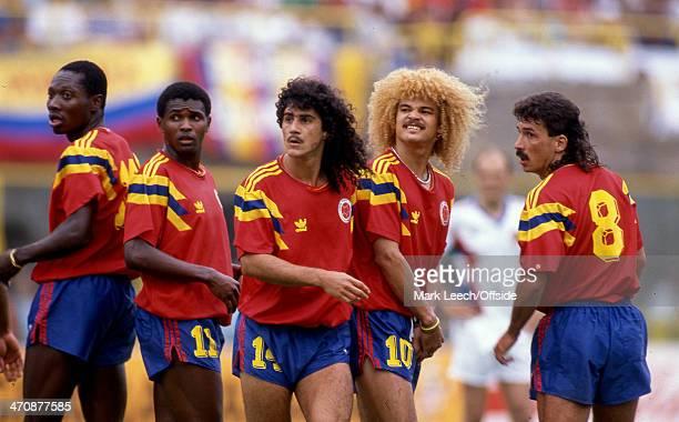 14 June 1990 FIFA World Cup Yugoslavia v Colombia Colombian defensive wall Freddy Rincon Bernardo Redin Leonel Alvarez Carlos Valderrama and Gabriel...