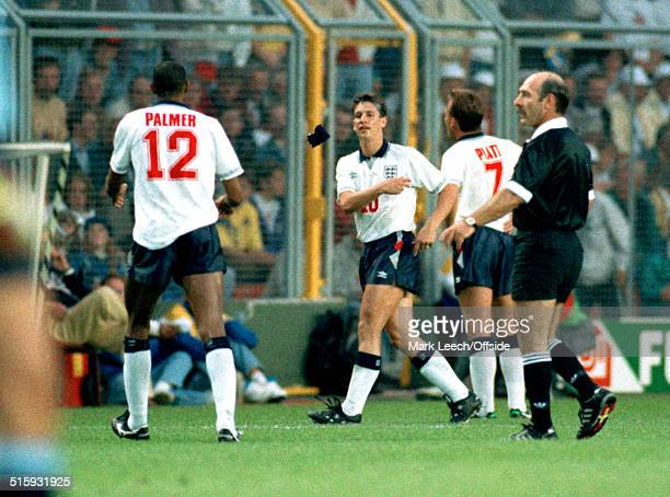 17 June 1992 Stockholm European Football Championships England v Sweden England captain Gary Lineker throws the armband to Carlton Palmer after being...