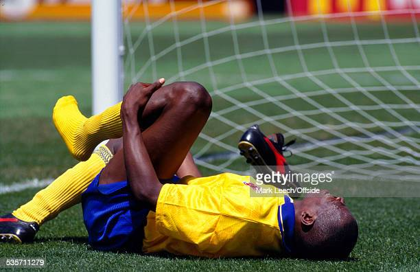26 June 1994 Fifa World Cup Switzerland v Colombia Faustino Asprilla of Colombia lies on the turf injured