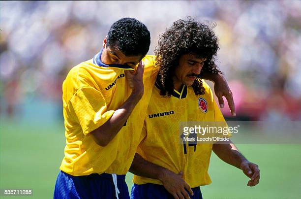 26 June 1994 Fifa World Cup Switzerland v Colombia Tears for Alexis Mendoza and Leonel Alvarez after Colombia exit the World Cup at the group stage